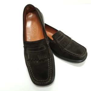 Tod's Dark Brown Suede Driving Loafers Sz 38.5